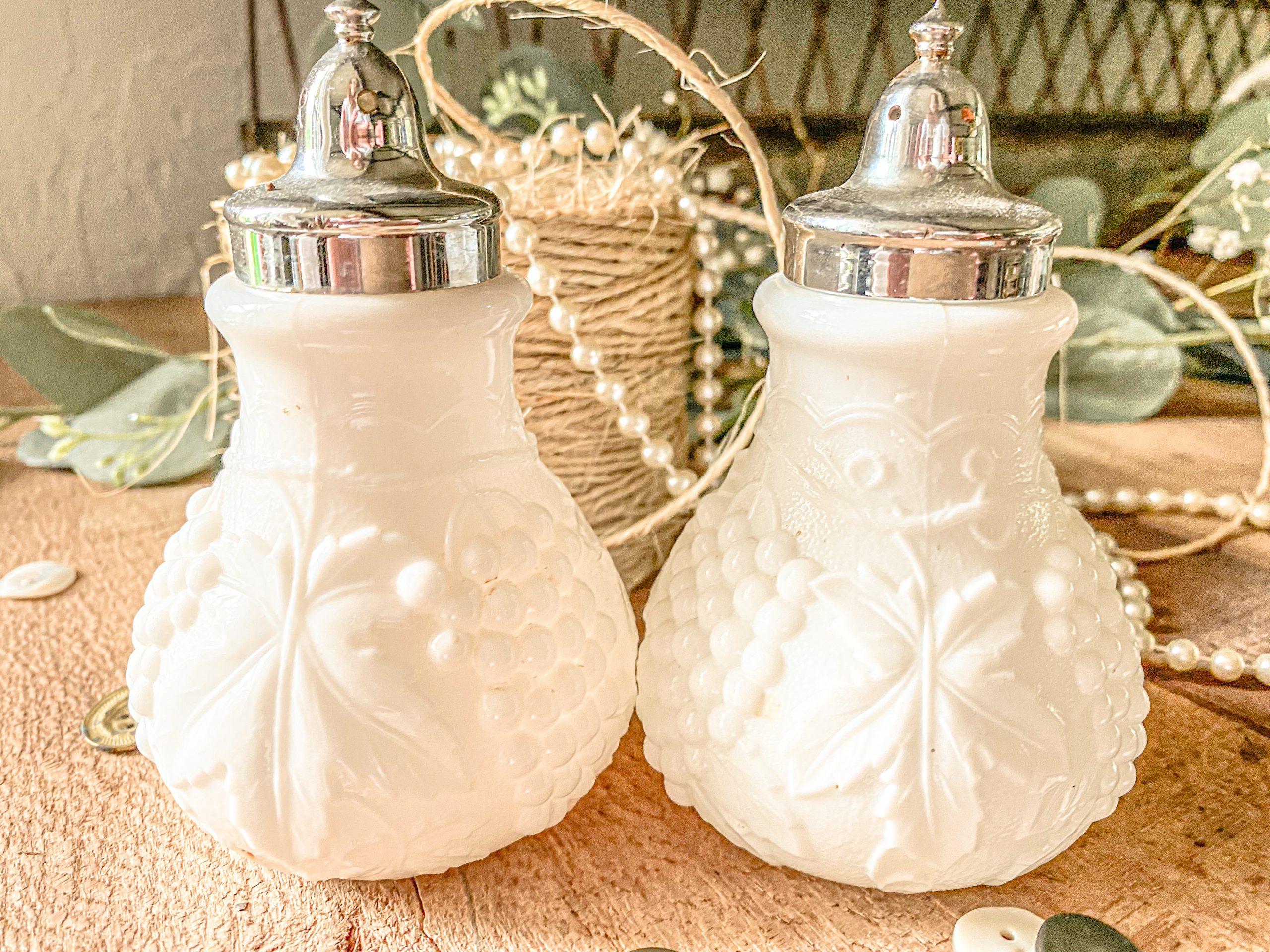 Milk Glass Salt And Pepper Shaker Grape Leaf Motif Thewindylilac